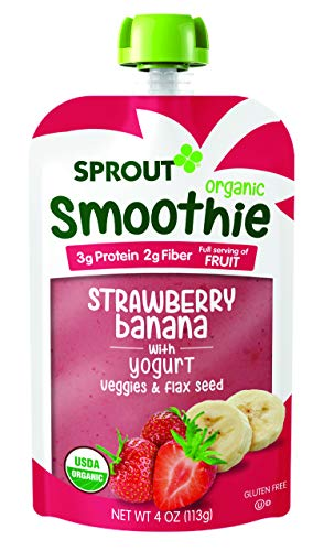 Sprout Organic Toddler Smoothie Pouches, Strawberry Banana w/ Yogurt, 4 Ounce (Pack of 12)