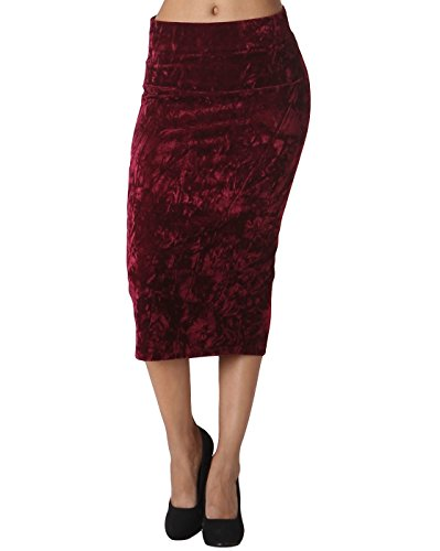 LeShop Solid Color Below Knee Women's Velvet Pencil Skirt (Small, Wine)