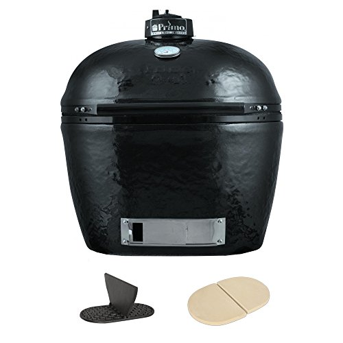 Primo 778 Extra-Large Oval Ceramic Charcoal Smoker Grill with Cast Iron Divider and Ceramic Heat Deflector Plates