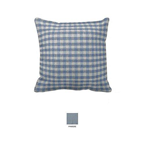 Patch Magic Blue and Ecru Gingam Checks Fabric Toss Pillow, 16-Inch by 16-Inch (Ecru Gingham Checks)