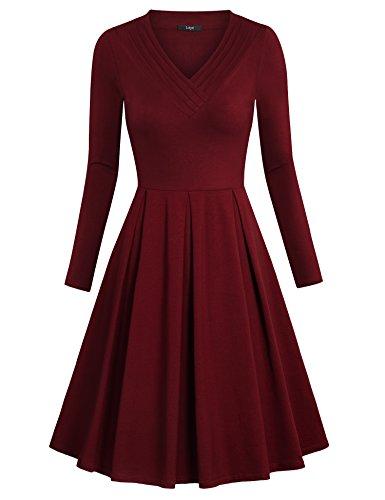 Laksmi Casual Formal Dress, Womens Plain Long Sleeve Pleated V Neck Loose Swing Casual Midi T Shirt Homecoming Dress,Wine X-Large (Sweater Dresses Boots)