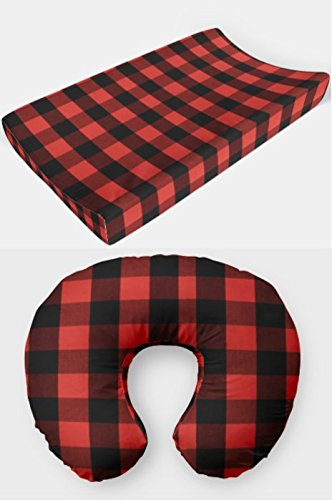 2 Piece Set Changing pad Cover and Nursing Pillow Cover in Red and Black Buffalo Plaid by AllTot - Boy Woodland Nursery Decor Handmade in The USA