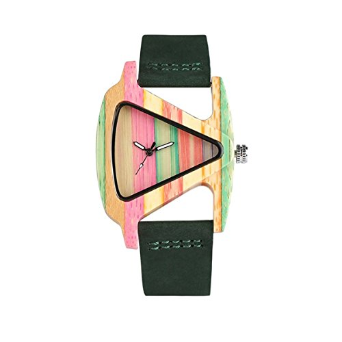 Price comparison product image Abrray Women Bamboo Wrist Watch Fresh Colorful Triangle Dial Wooden Quartz Ladies Watches (A01)
