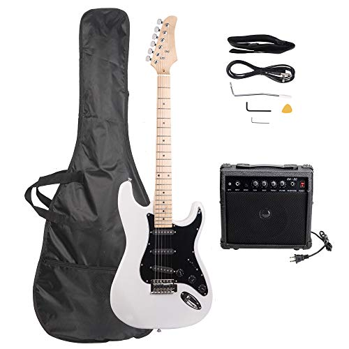 ISIN Full Size Electric Guitar for Beginner with Amp and Accessories Pack Guitar Bag (White)...