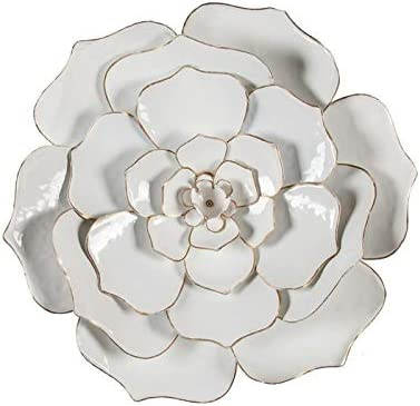 Pemberly Row 24″ Diameter White Flower Metal Wall Sculpture