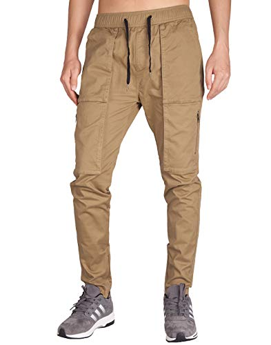 ITALY MORN Men's Chino Cargo Pants Slim Fit Ankle Zipper (XS, Dark Khaki) - Khaki Ankle Pants