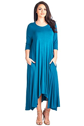 Solid Made Size 4 Dress Maxi 12 Loose in Sleeve USA Pocket Teal Plus 3 Ami TqAxnwZFt