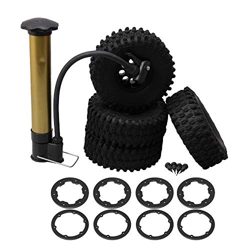 BQLZR RC 1:10 1.9 Inch Resistant Abrasion Rock Crawler Car Air-Filled Tire Diameter 120MM with Inflator Pack of 4