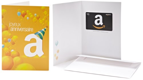 Amazon.ca $15 Gift Card in a Greeting Card (Français - Ballons d'anniversaire