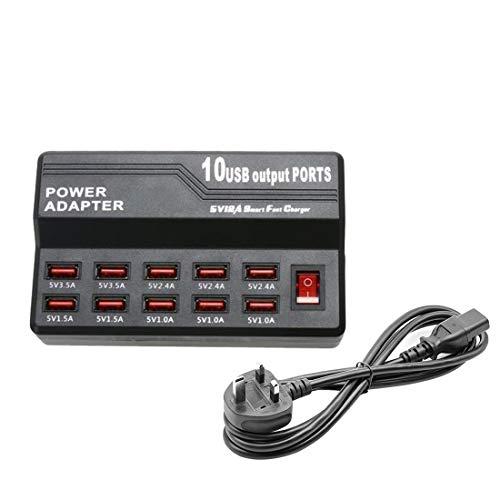 10 Port Fast USB Charging Station Power Adapter Smart Travel Wall Desktop Charger Hub 5V 12A