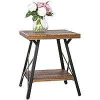 Harper&Bright designs Solid Wood End Table with Metal Legs,Living Room Set/Rustic Brown