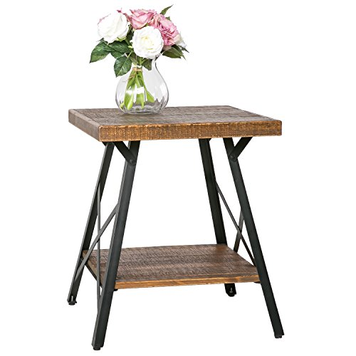 Harper&Bright designs Solid Wood End Table with Metal Legs,Living Room Set/Rustic Brown