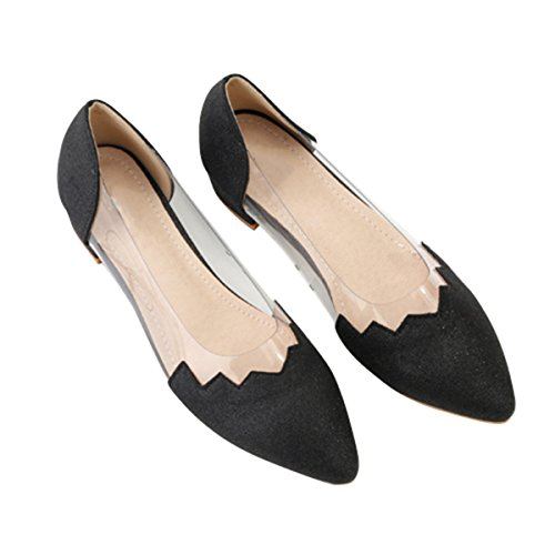 Dear Time Women Wedding Flats Metal Pointy Toe Transparent Shiny Slip On Shoes Black mYJppki
