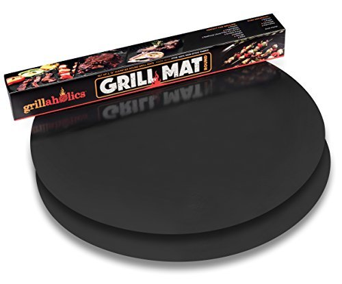 Grillaholics Grill Mat Round - As Featured on Rachael Ray Top Grilling Accessories - Set of 2 Nonstick BBQ Grilling Mats - 15 Inch (Round) (Barbaque Grill)