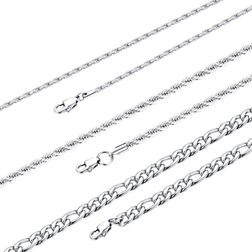 (Finrezio 3 PCS Stainless Steel Rope Figaro Chain Necklace for Men Women Pendant Chain Necklaces Set High-Polish Finished 24 in)