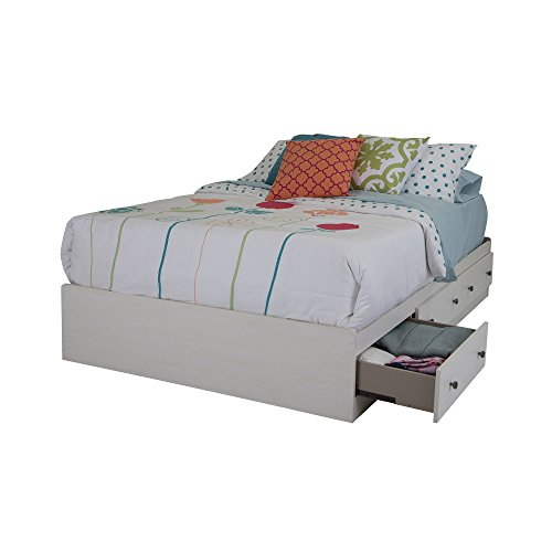 Poetry Mates Bed with 3 Drawers, Full 54-inch, White Wash ()