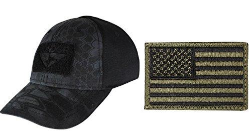 Condor Flex Black Typhon Cap Small/Medium + USA FLAG PATCH OD GREEN (Black Stealth Fitted Hat)