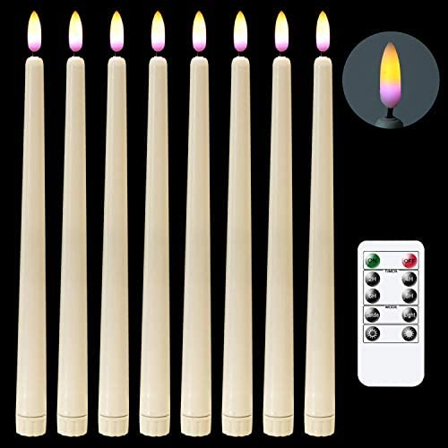 DRomance Ivory LED Flameless Flickering Taper Candles Battery Operated with 10-Key Remote and Timer, Set of 8 Realistic 3D Wick Purple Light 11 Flameless Window Candles Christmas Decoration