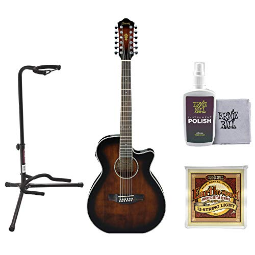 Ibanez AEG1812II AEG 12-String Acoustic-Electric Guitar (Dark Violin Sunburst) with Stand, Cloth and Strings
