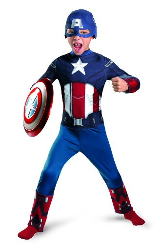 Captain America Classic Costume (Avengers Captain America Classic Costume, Red/White/Blue, Medium)