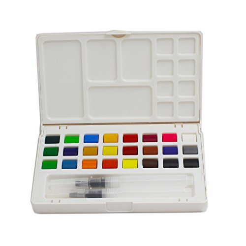 DUOLAIMI Watercolor Solid Pigments Field Sketch Set 24 Assorted Paints and 2 Water Brushes and 1 Palette for Adult and Children Painting on the Go by DUOLAIMI