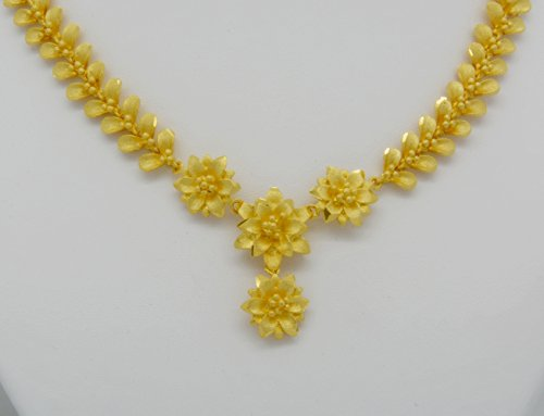 Gorgeous 23k 24k Yellow Gold Plated Women Flower Drop Necklace Elegant ()