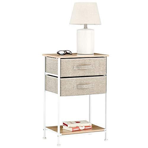 mDesign Night Stand/End Table Storage Tower - Sturdy Steel Frame, Wood Top, Easy Pull Fabric Bins - Organizer Unit for Bedroom, Hallway, Entryway, Closets - Textured Print - 2 Drawers, Shelf - Linen (Long Underwear Top Wickers)
