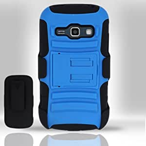 For Samsung Galaxy Ring M840 / Galaxy Prevail 2 (Boost/Virgin Mobile) - Heavy Duty Armor Style 2 Case w/ Holster - Black/Blue AM2H