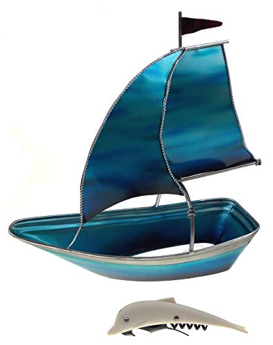 Blue Sailboat Wine Bottle Holder Bundled with a Dolphin Corkscrew Bottle Opener