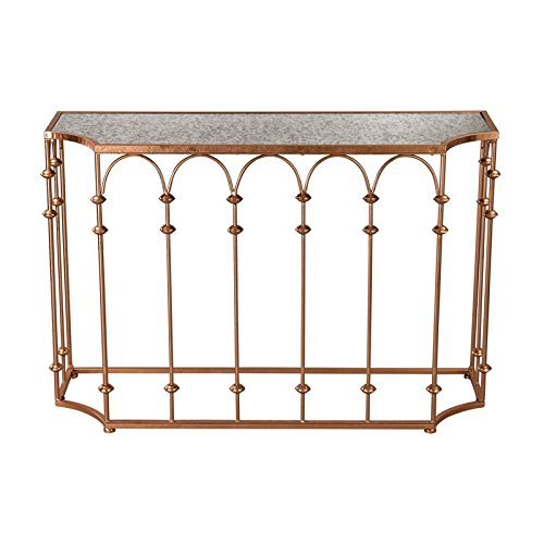 Sterling Heavy Metal Console Table in Copper and Antique Mir