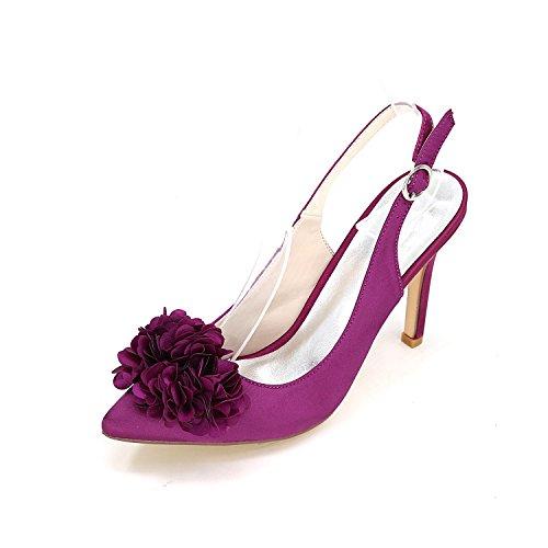 L@YC Zapatos De TacóN alto Para Mujer Zapatos De Gran TamañO Para Bodas Gatito De Seda Boda Personalizada Con PequeñO Color Purple