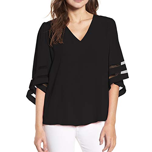 Shy Velvet Women's V Neck 3/4 Bell Sleeve Chiffon Blouse Mesh Panel Loose Top Shirts Black