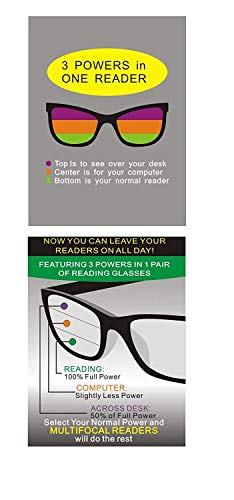 211dfd5223a Fiore Multi Focus Progressive Reading Glasses 3 Powers in 1