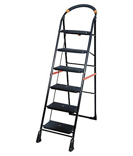 Parasnath Milano Iron 6-Steps Folding Ladder (Black)
