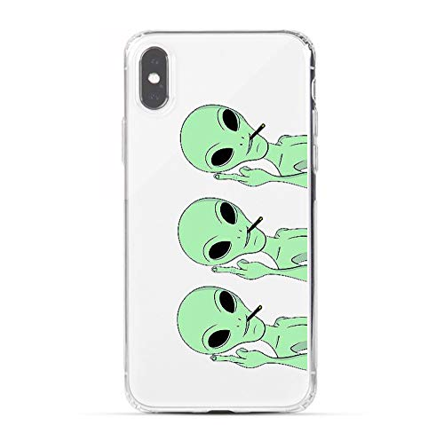 Cool Halloween Designs (LEMONCOVER Phone Case for iPhone Xs Max Case,Novelty Alien Pattern Soft Silicone Protective Skin Shockproof Clear Cool Art Fingers Design Bumper Back Cover for iPhone Xs Max Plus (6.5 inches))