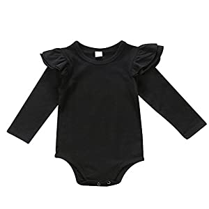 prelikes Baby Girls Long Sleeve Bodysuit Romper Ruffle Fly Sleeve Jumpsuit Playsuit Outfits