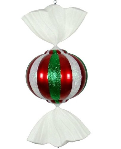 Queens of Christmas WL-CDY-36-RGW Christmas Decorative Peppermint Candy Ornament, 3', Red/White/Green