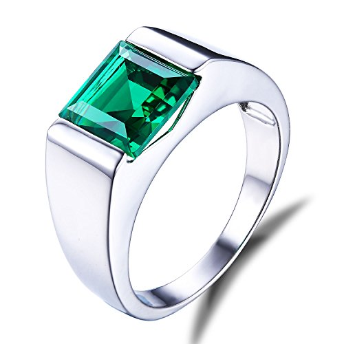 Jewelrypalace Mens 2.34ct Square Created Green Nano Emerald 925 Sterling Silver Ring Size 10
