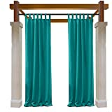 Macochico Turquoise Outdoor Curtains 84W x 96L for Patio Gazebo Cabana Library Hotel Club Classroom Kidsroom Blackout Draperies Water Repellent Heat Insulated Noise Buffer Dustproof(1 Panel)