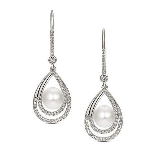 SWEETV Pearl Drop Wedding Bridal Earrings for Women,Bridesmaids,Brides-Silver ()