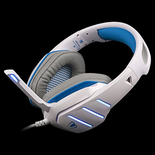 Gaming Headset with Mic for PlayStation 4 PS4 PC Laptop Tablet Xbox One, IKOCO Wired Surround Sound Noise Reduction Game Headphones, LED Lighting & Easy In-line Volume Control (White)
