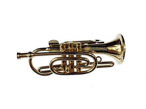 Kornett Brosche Flügelhorn Miniblings Pin Anstecker + Box Trompete gold