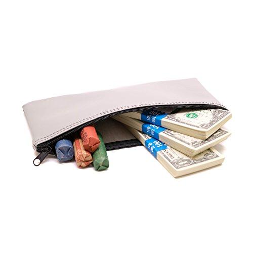 Coin Vinyl Zipper (Zipper Bank Deposit Bag 5.5 X 10.5 Coin Check Money Wallet Grey Pack of 10)
