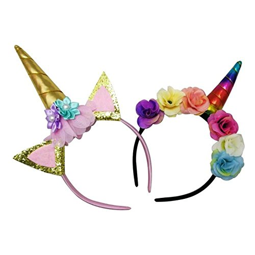 Paper Doll Halloween Costume For Adults (Unicorn Headband, 2 Pack/set Gold and Rainbow,Cosplay,fluffy shiny horn with flowers and ears for girls,kids and adults)
