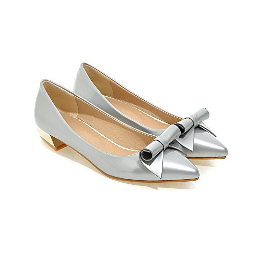 Pointed Pumps Closed Women's Silver Toe Leather Shoes Heels Solid Pull WeenFashion Low Patent On FCAtqFxw