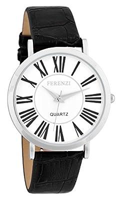 Ferenzi Unisex | Classic Roman Numeral White Face Black Alligator Style Strap Watch | FZ16201