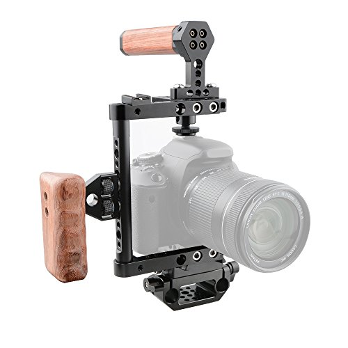 CAMVATE Camera Cage Wooden Handle with Quick Release Plate for 60D,70D,80D,5D MarkII,5D MarkIII(Right Handle)