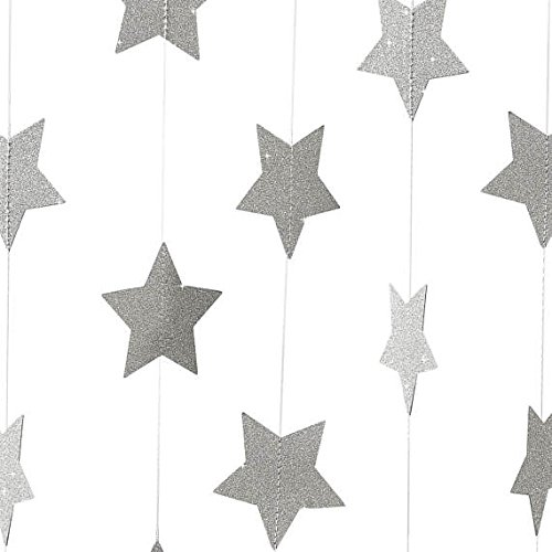 Silver Star Decorations For Parties - 2-Pack,Glitter Silver Star Garland, Christmas Garland,