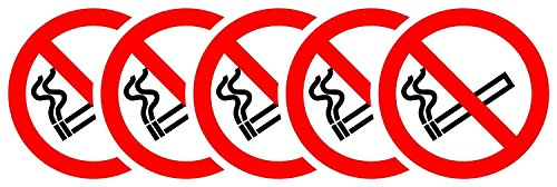 (ISO Safety Label Sign - International No Smoking Symbol - Self adhesive sticker 150mm Diameter ( PACK OF 5 STICKERS) )
