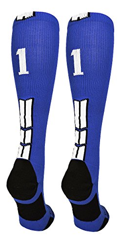 MadSportsStuff Royal/White Player Id Over The Calf Number Socks (#11, Large) - Mad Baseball Jersey